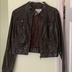Dark Brown Cropped Faux Leather Jacket